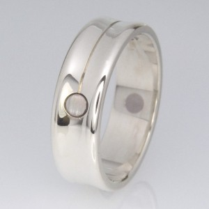 Handmade gents 18ct and 9ct white gold wedding ring