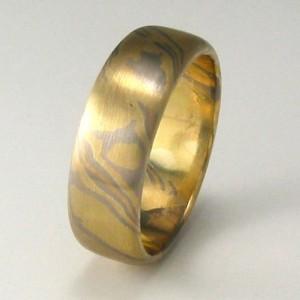 Handmade 18ct yellow, rose and white gold Mokume Gane ring