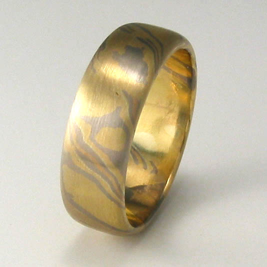 Handmade 18ct yellow, rose and white gold Mokume Gane ring