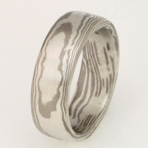 Handmade white gold & sterling silver Mokume Gane wedding ring