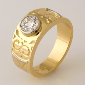 Handmade ladies 18ct yellow gold diamond engraved ring