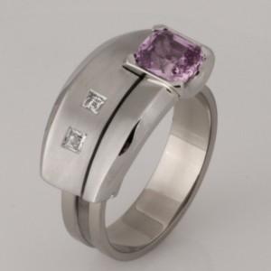Handmade ladies palladium and 18ct white gold pink sapphire and diamond 'Archie' ring