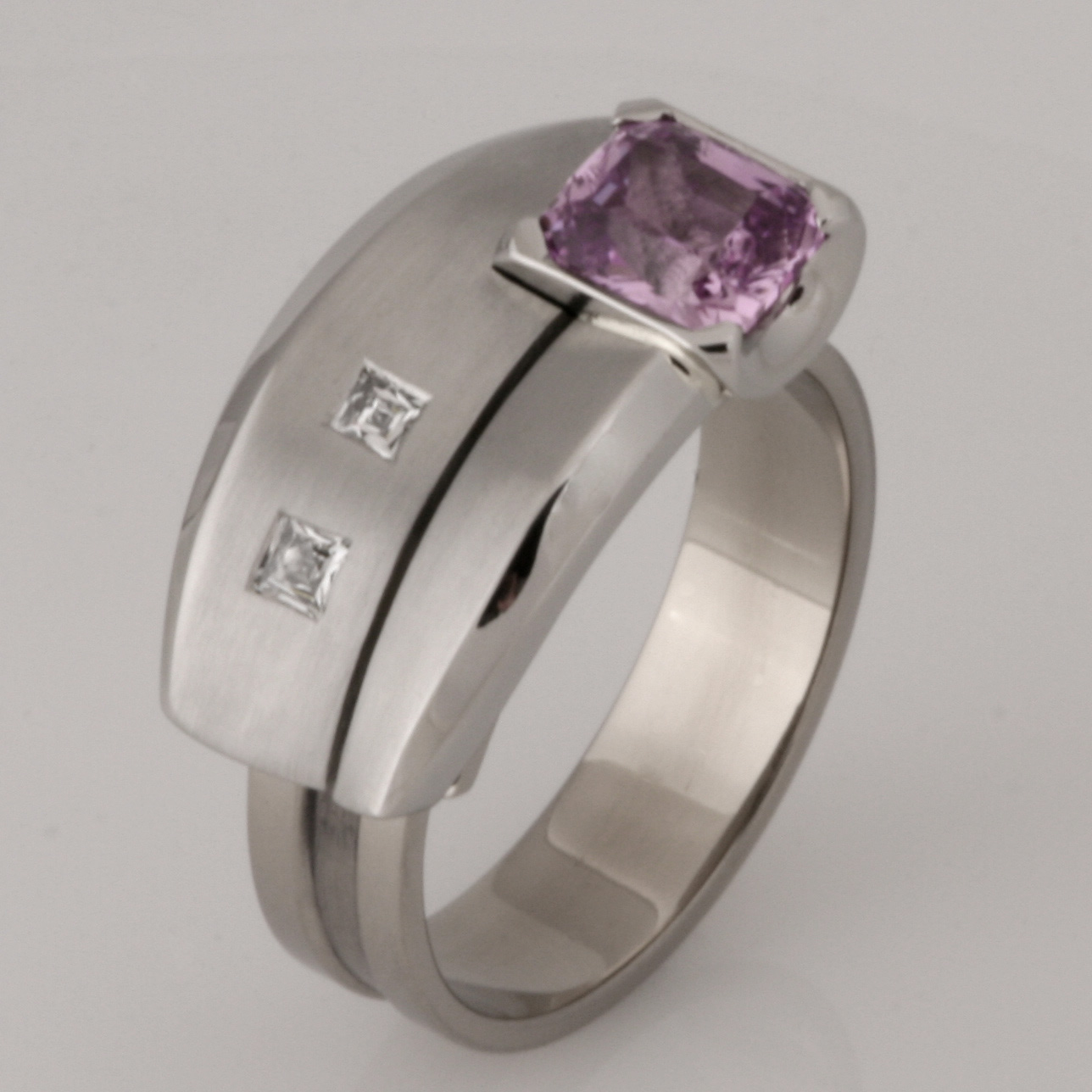 Handmade ladies palladium and 18ct white gold pink sapphire and diamond 'Archie' ring