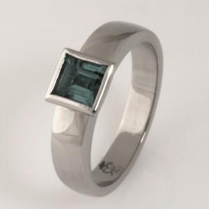 Handmade ladies palladium square tourmaline ring