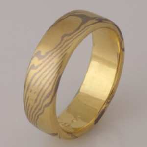 "Handmade gents 18ct yellow and white Gold ""Mokume Gane"" ring"