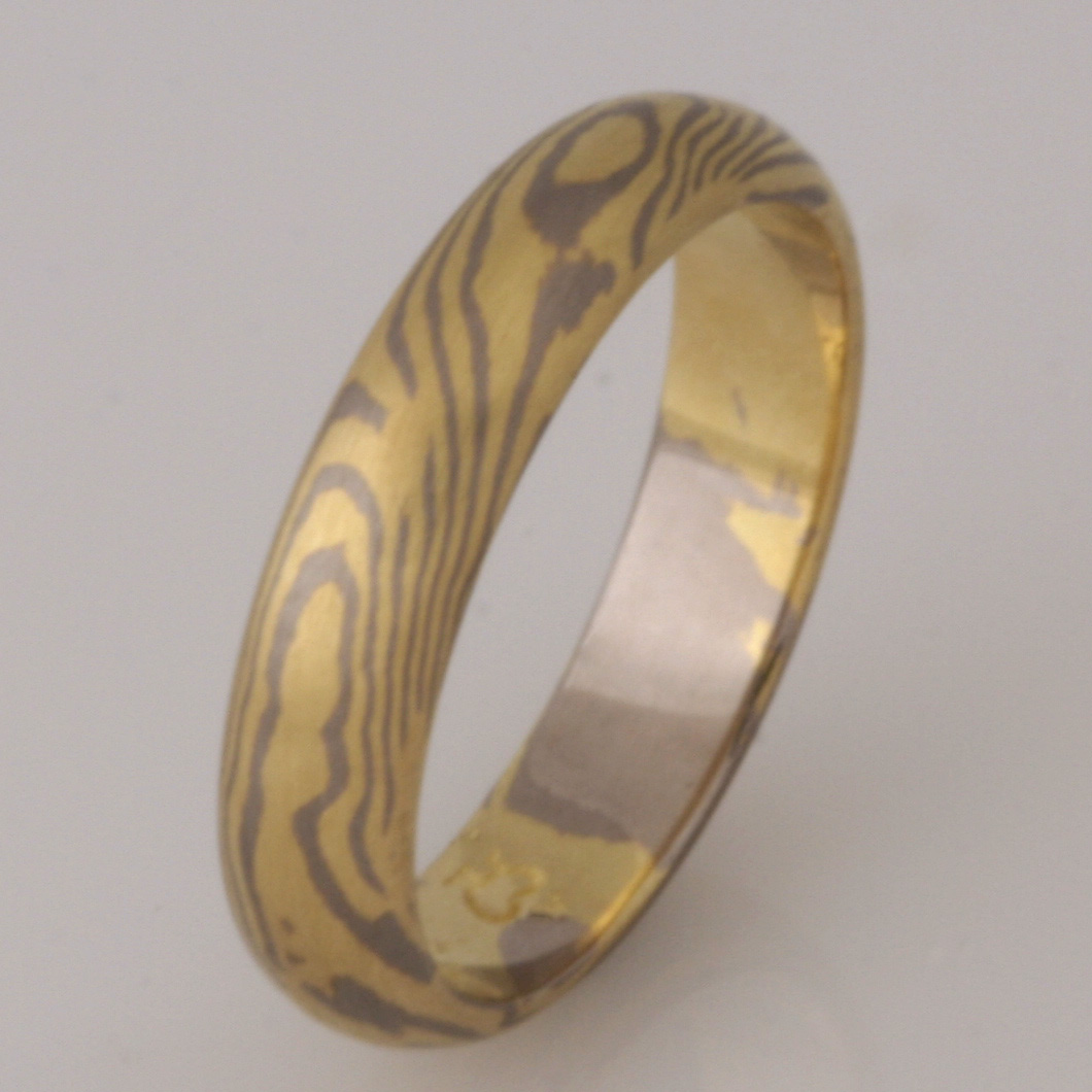 Handmade ladies Mokume Gane ring in 18ct yellow and white Gold