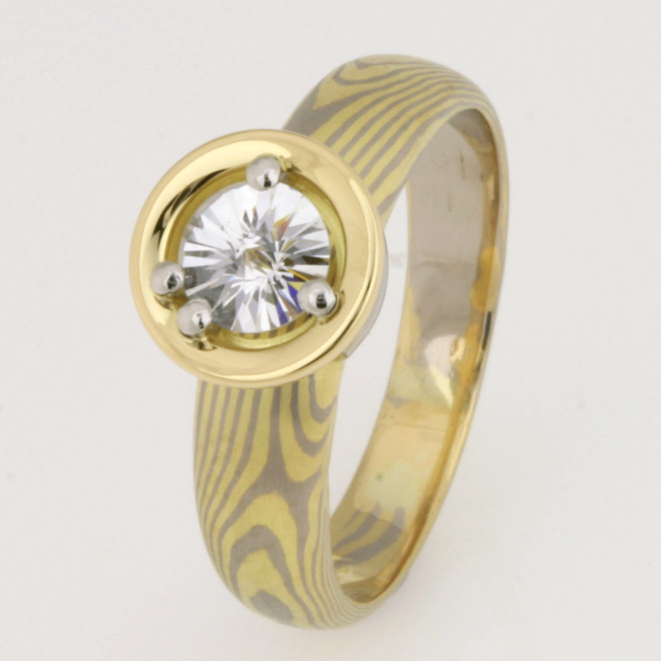Handmade 18ct yellow & white gold Mokume Gane ring featuring a 'Spirit' cut diamond