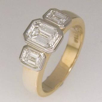 Handmade ladies 18ct yellow and white gold emerald cut diamond ring