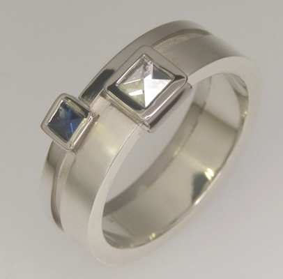 Handmade 9ct & 18ct white gold 'Context' cut diamond & sapphire ring