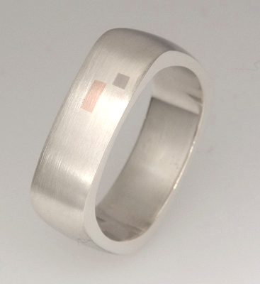 Handmade gents 9ct white gold wedding ring with 18ct rose gold inserts