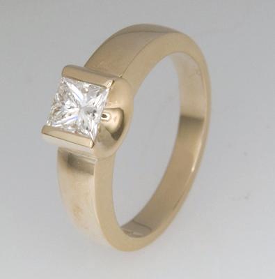 Handmade 18ct yellow ladies square emerald cut diamond engagement ring
