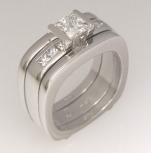 Handmade platinum princess cut diamond engagement ring with split wedding rings