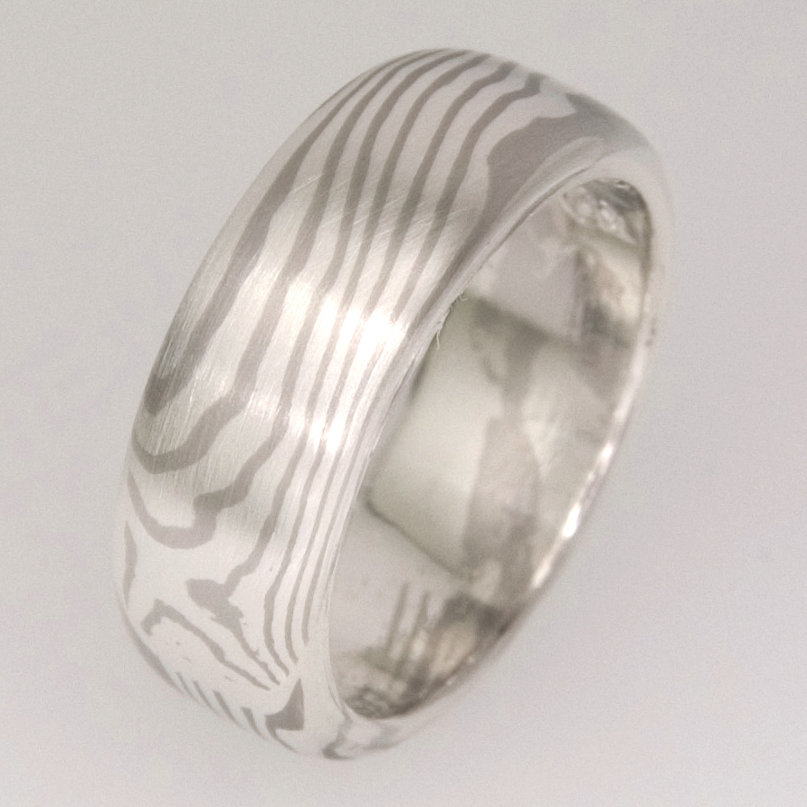 Handmade 18ct white gold and sterling silver Mokume Gane wedding ring