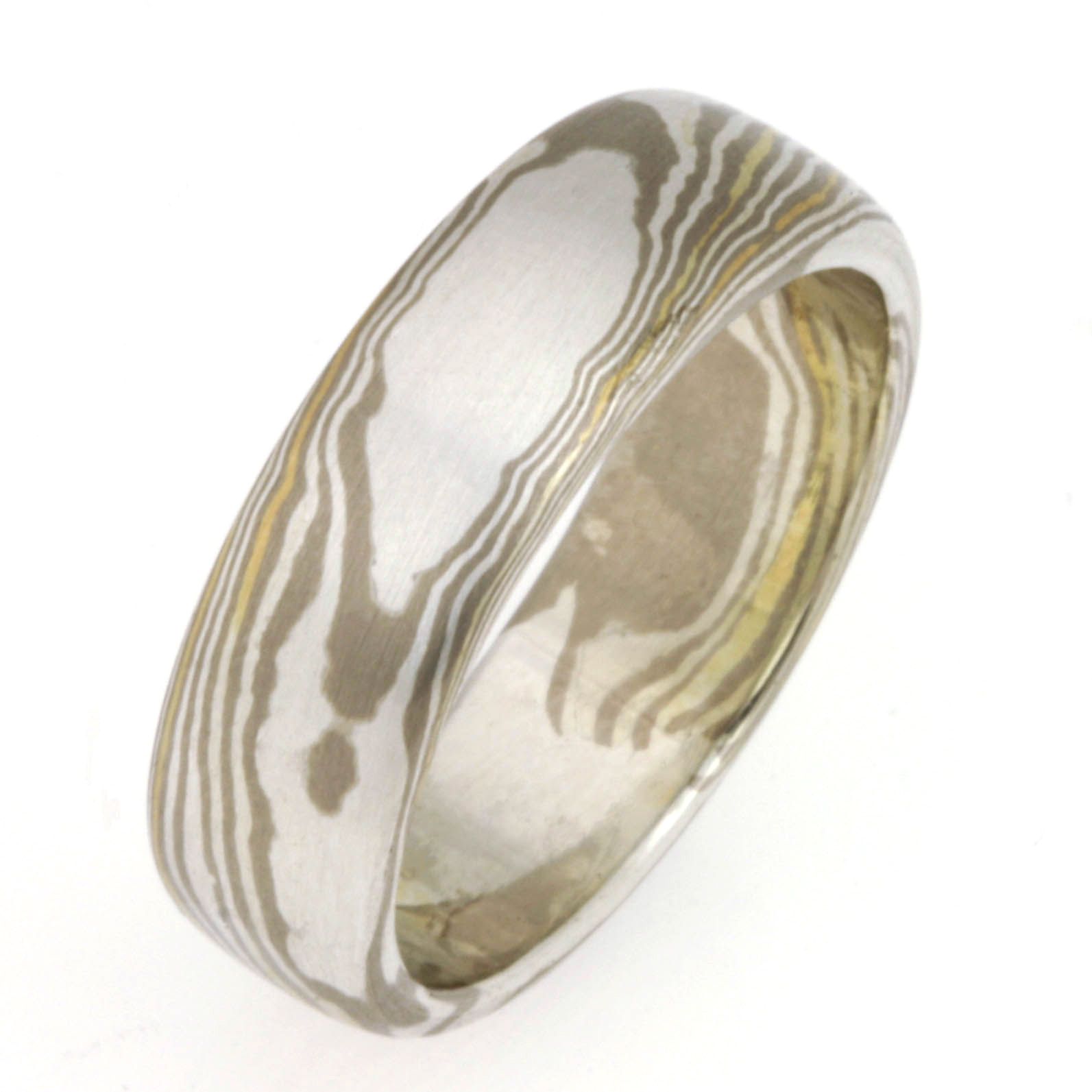 Handmade gents 18ct white gold, 18ct yellow gold and sterling silver Mokume Gane wedding ring