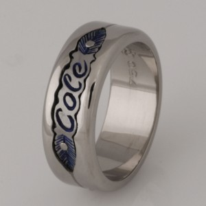 Handmade gents 18ct white gold and blue titanium carved wedding ring