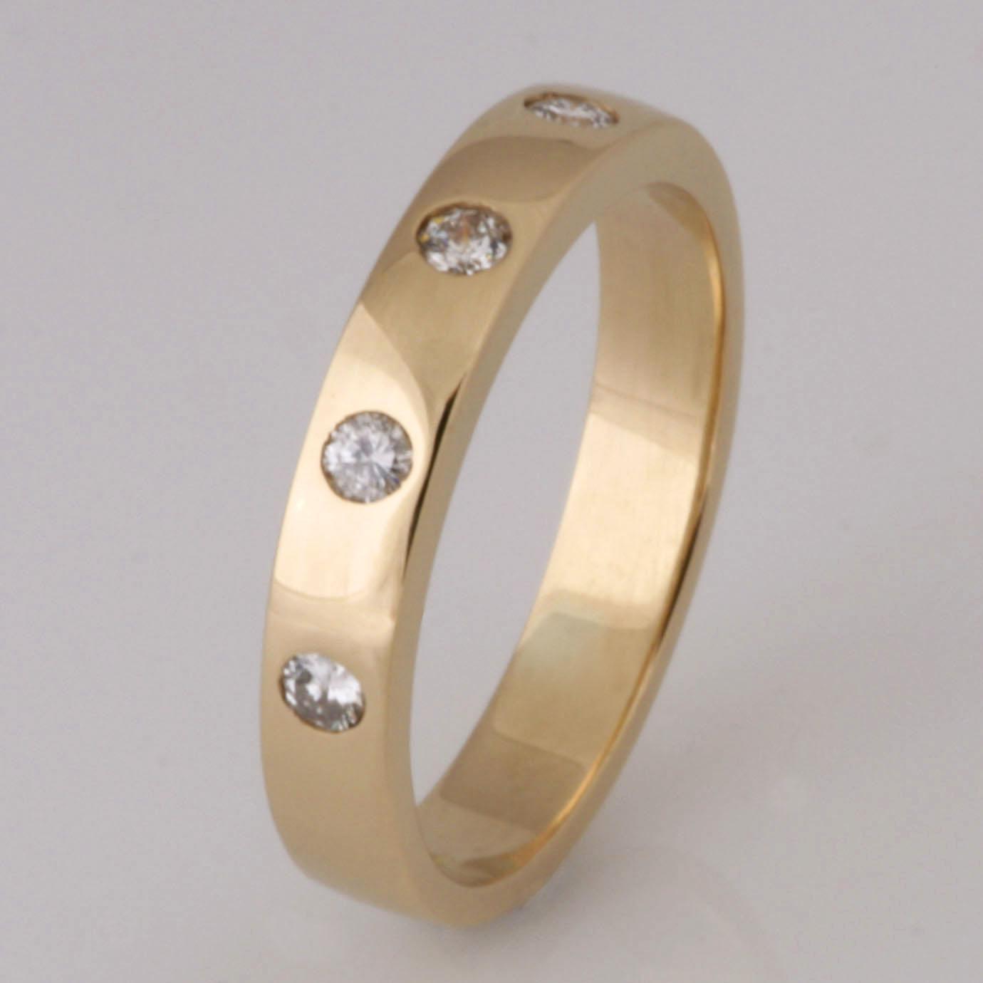 Handmade 18ct yellow gold diamond wedding ring