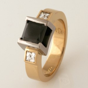 Handmade ladies 18ct yellow gold and palladium black diamond engagement ring
