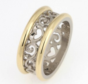 Handmade 18ct white and yellow gold Filigree wedding ring