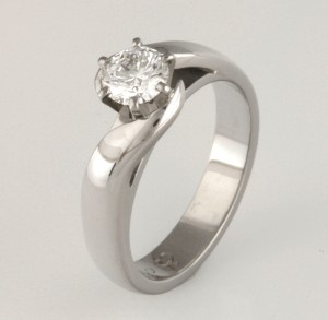 Handmade ladies palladium engagement ring featuring an Asteios diamond
