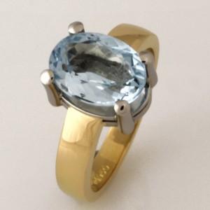 Ladies handmade 18ct yellow gold and palladium Aquamarine dress ring