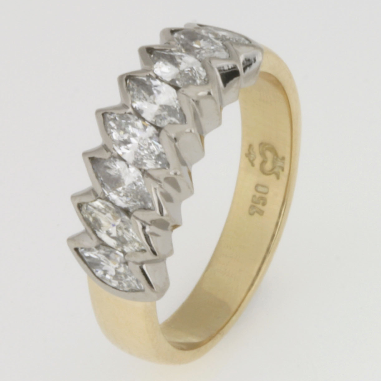 Handmade ladies 18ct yellow and white gold ring featuring marquise diamonds