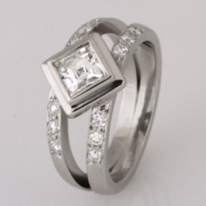 "Handmade palladium ""Square Tycoon"" cut diamond engagement ring"