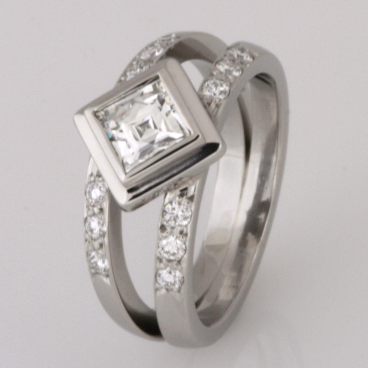 "Handmade palladium ""Square Tycoon"" cut diamond engagement ring"