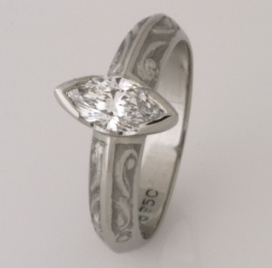 Handmade ladies palladium marquise cut diamond ring