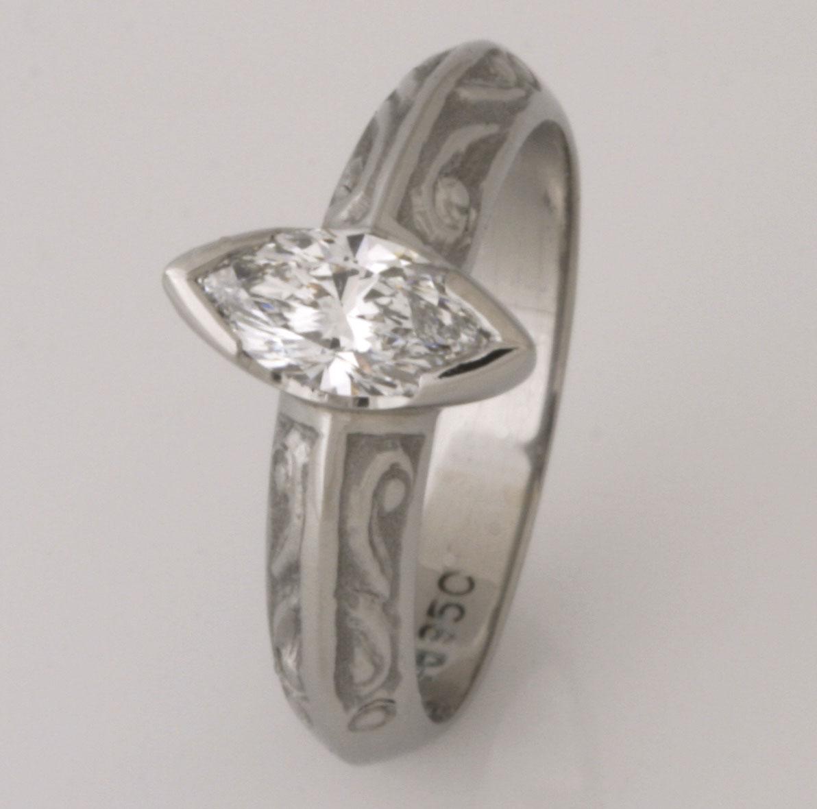 Handmade ladies palladium marquise cut diamond ring