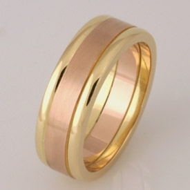 Gents handmade 18ct yellow and rose gold wedding ring
