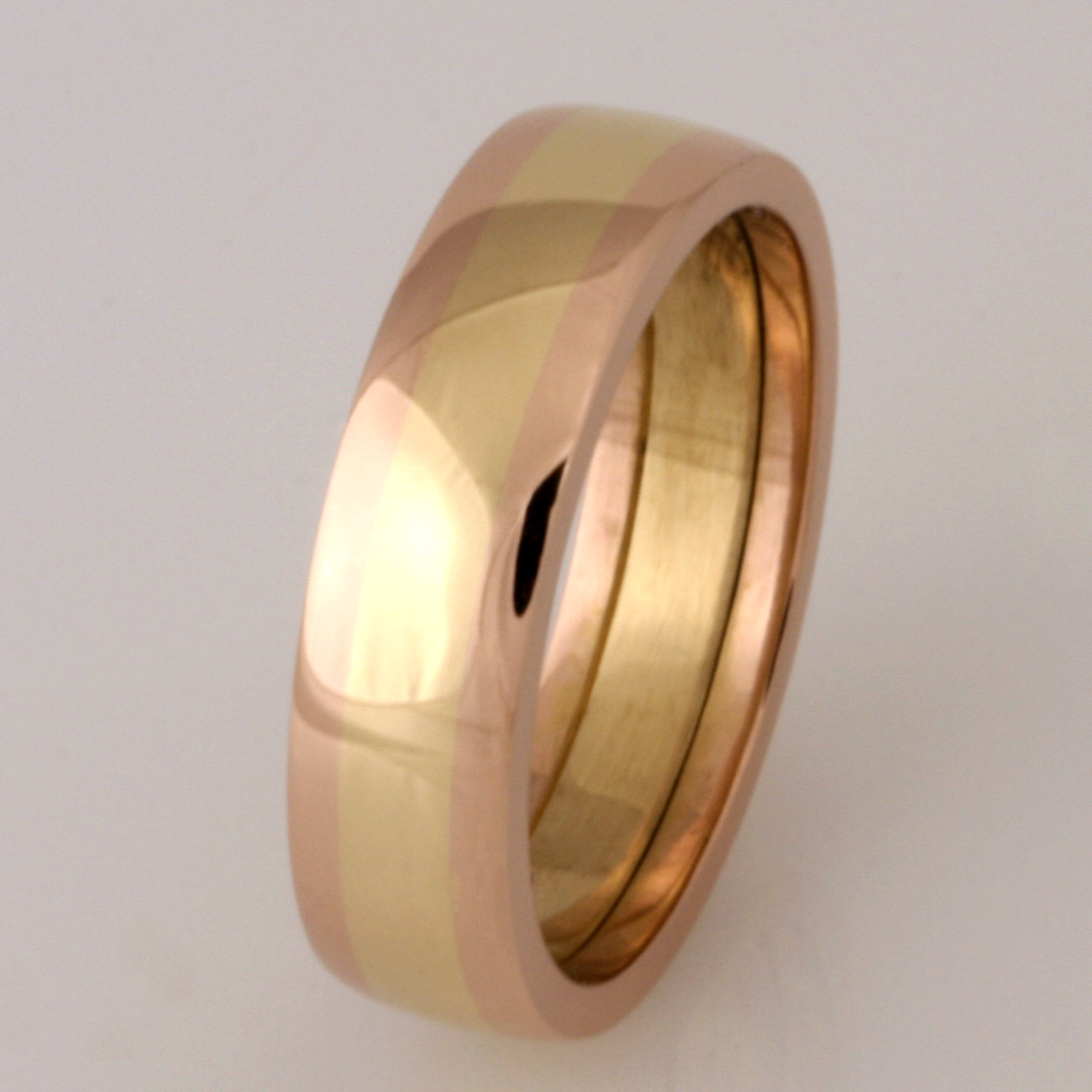 Ladies handmade 18ct yellow and rose gold wedding ring