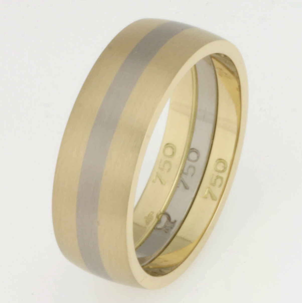 Handmade gents 18ct yellow and 18ct white gold wedding ring