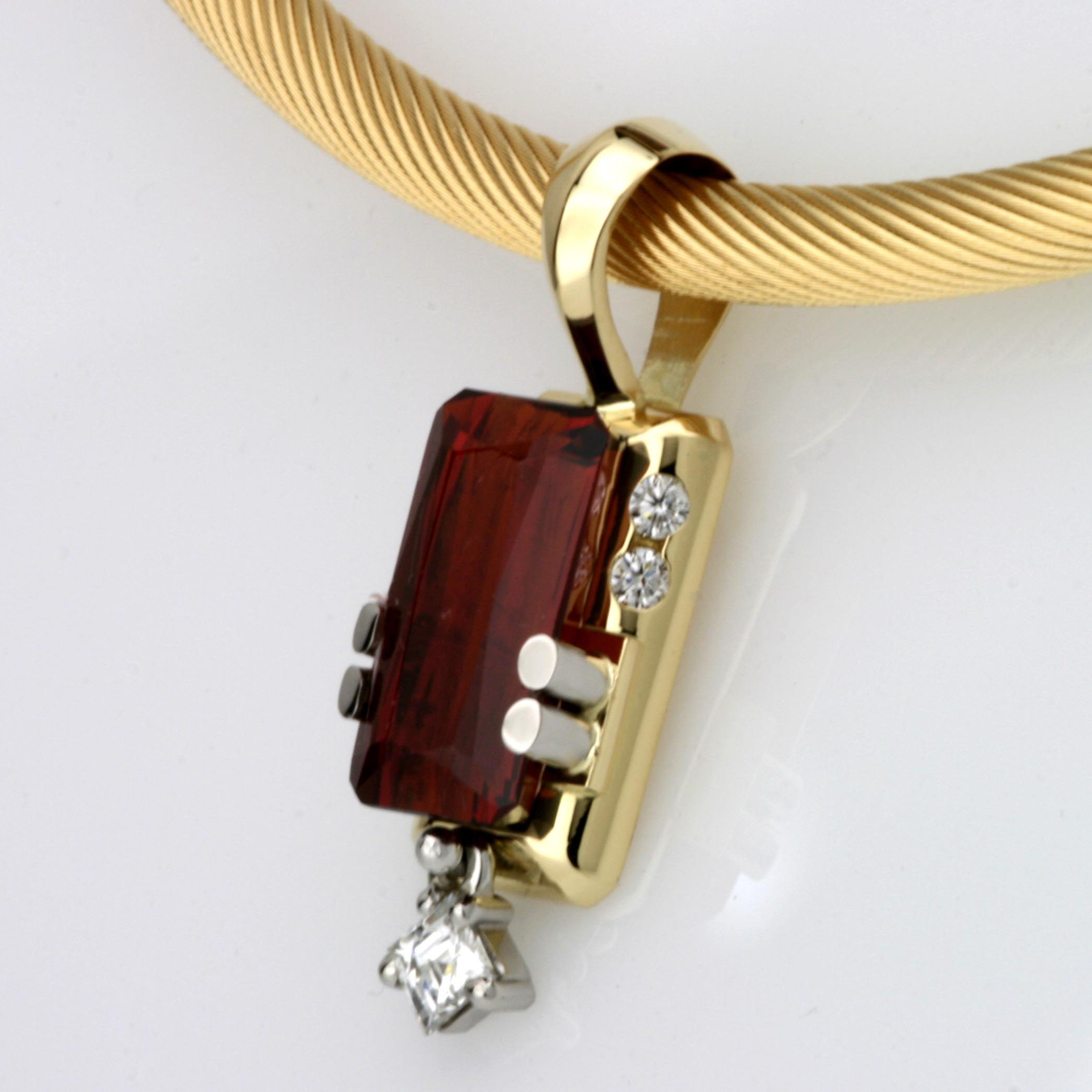 Handmade Spessartite Pendant with a Tycoon Cut Diamond & Brilliant Cut Diamonds set in Palladium & Yellow Gold