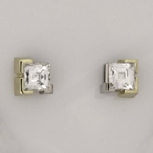 Handmade ladies 18ct green gold and palladium 'Tycoon' cut diamond earrings