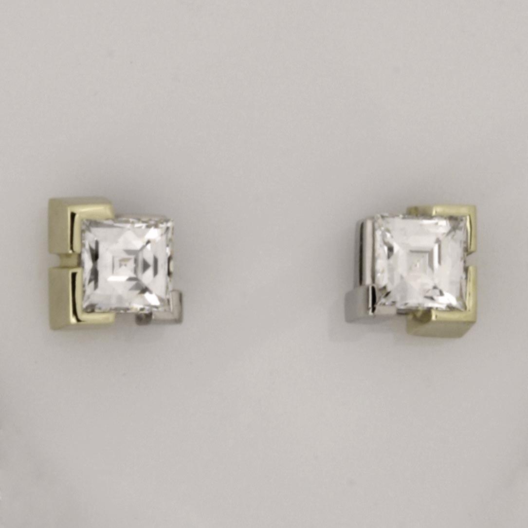 Handmade ladies 18ct green gold and palladium 'Tycoon' cut diamond earrings
