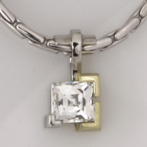 Handmade ladies 18ct green gold and platinum 'Tycoon' cut diamond pendant