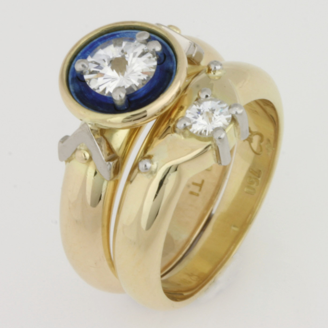 Handmade ladies 18ct yellow and white gold and titanium 'Spirit' cut diamond engagement and wedding ring set