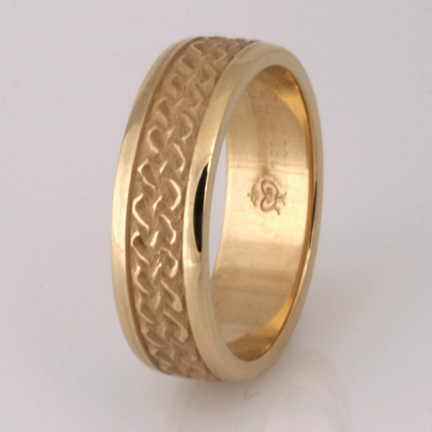 Handmade ladies 18ct yellow gold celtic wedding ring