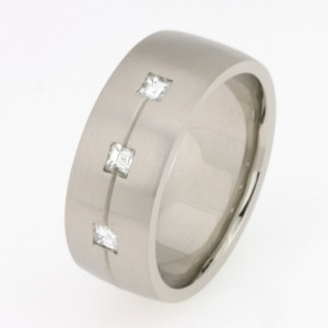 Handmade gents 18ct white gold Carre diamond wedding ring