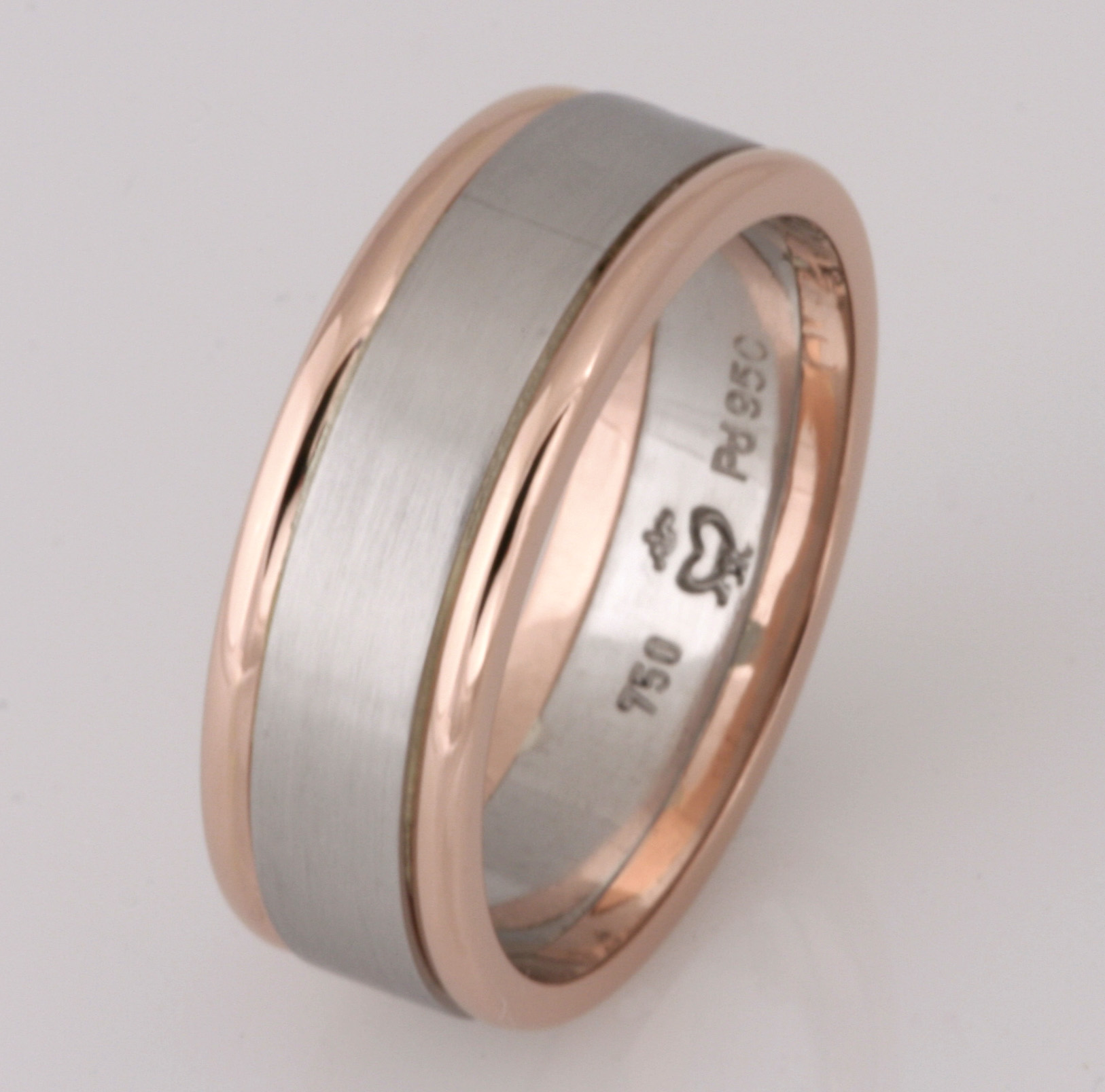 Handmade gents palladium and 18ct rose gold wedding ring