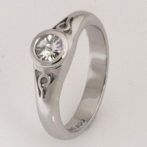 Handmade palladium engagement ring with 'Spirit' cut diamond