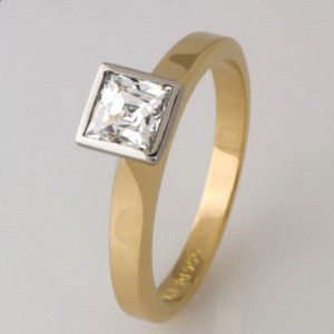 Handmade ladies 18ct yellow gold and palladium Tycoon Cut diamond engagement ring