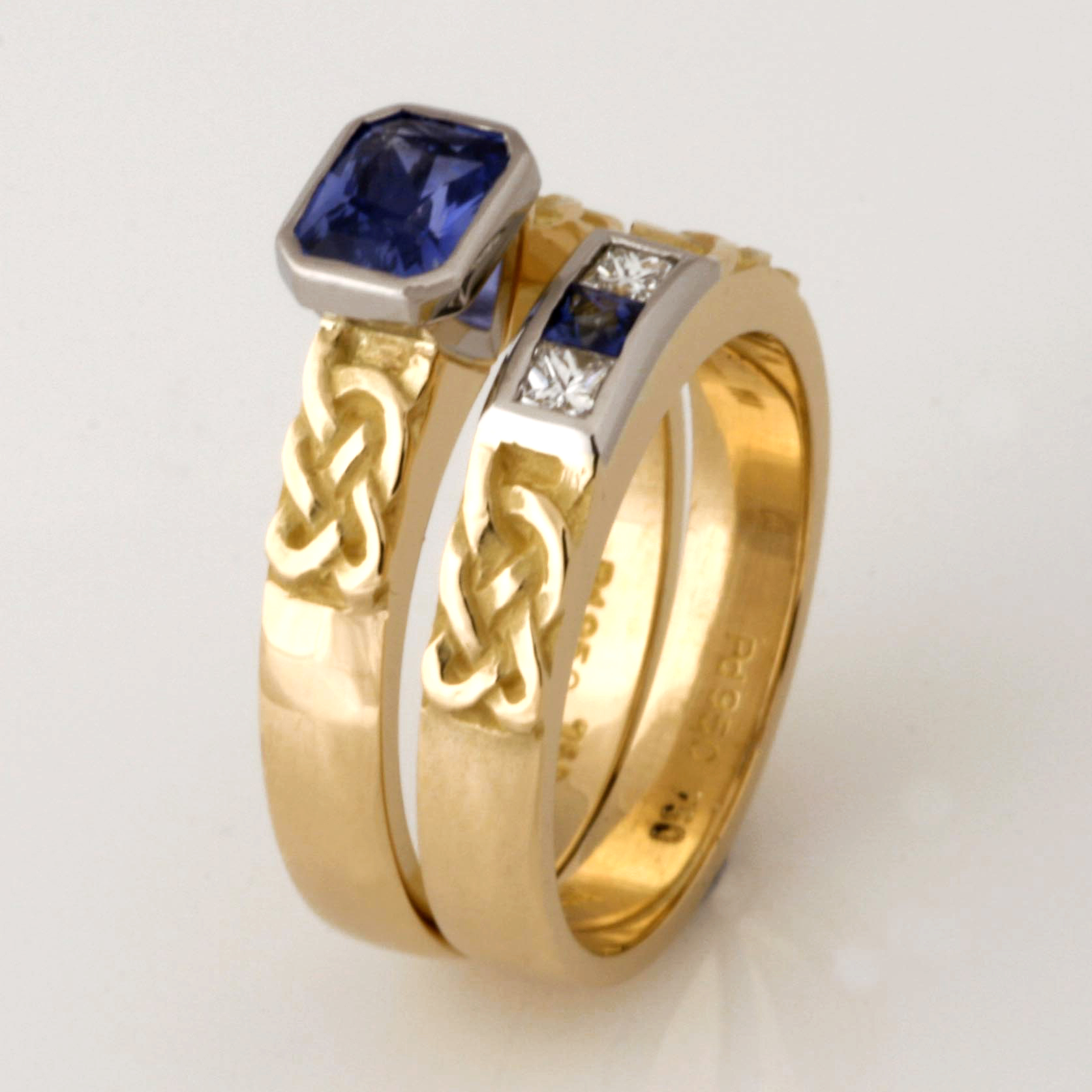 Handmade ladies 18ct yellow gold and palladium hand engraved wedding and engagement ring set featuring Ceylon sapphires