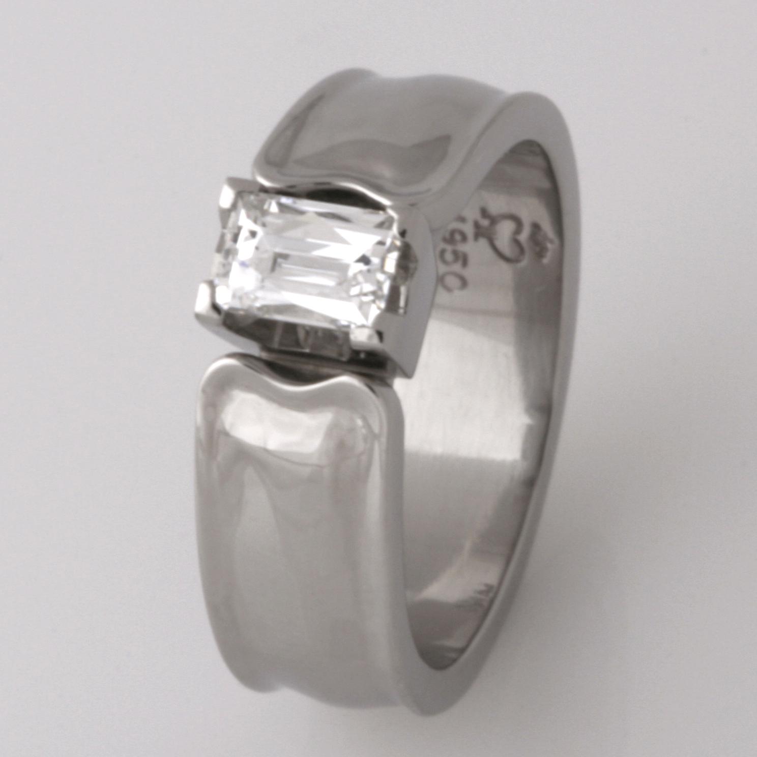 Handmade ladies palladium engagement ring featuring a 'Tycoon' cut diamond