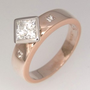 Handmade ladies 18ct rose gold princess cut diamond engagement ring