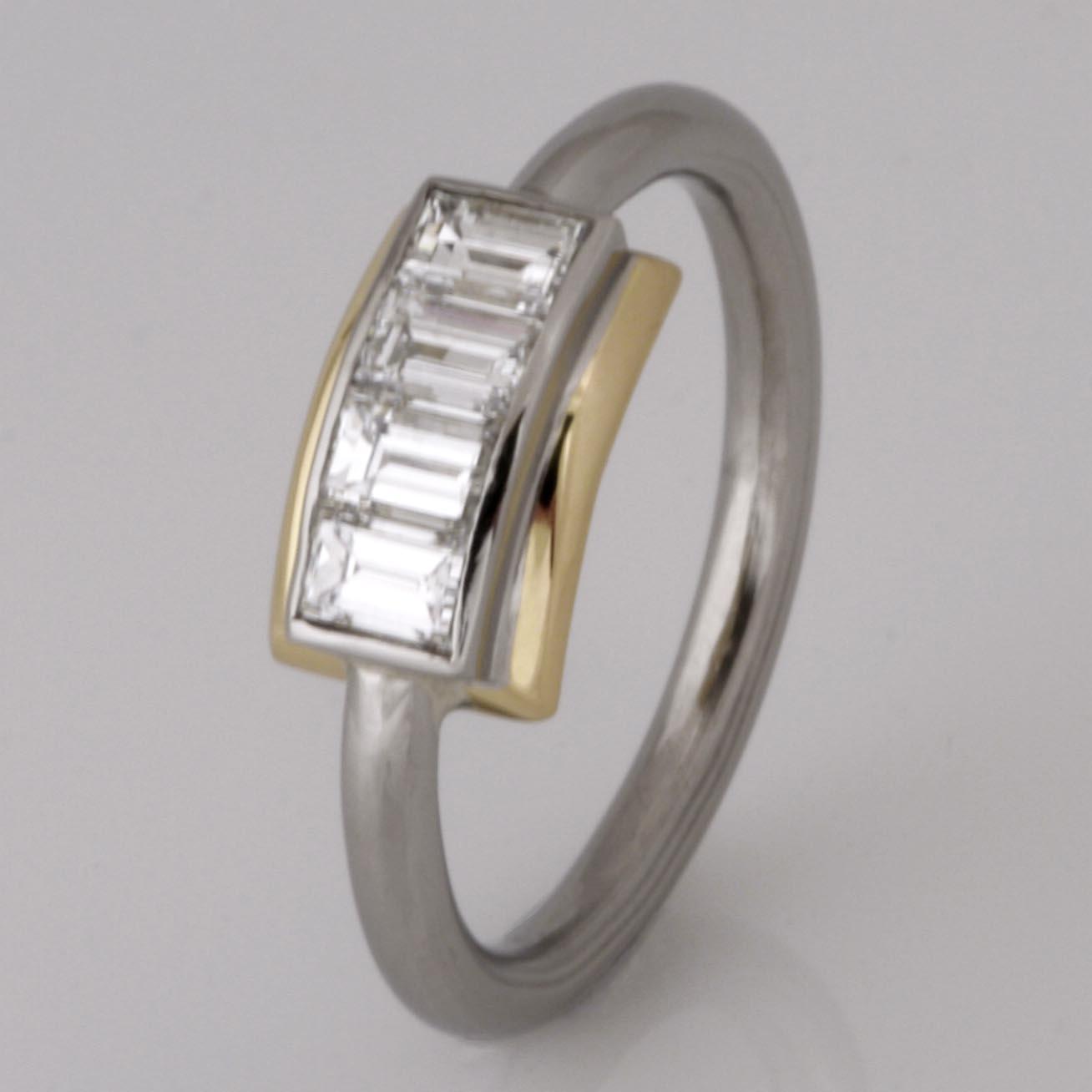 Handmade 18ct yellow gold and palladium diamond engagement ring