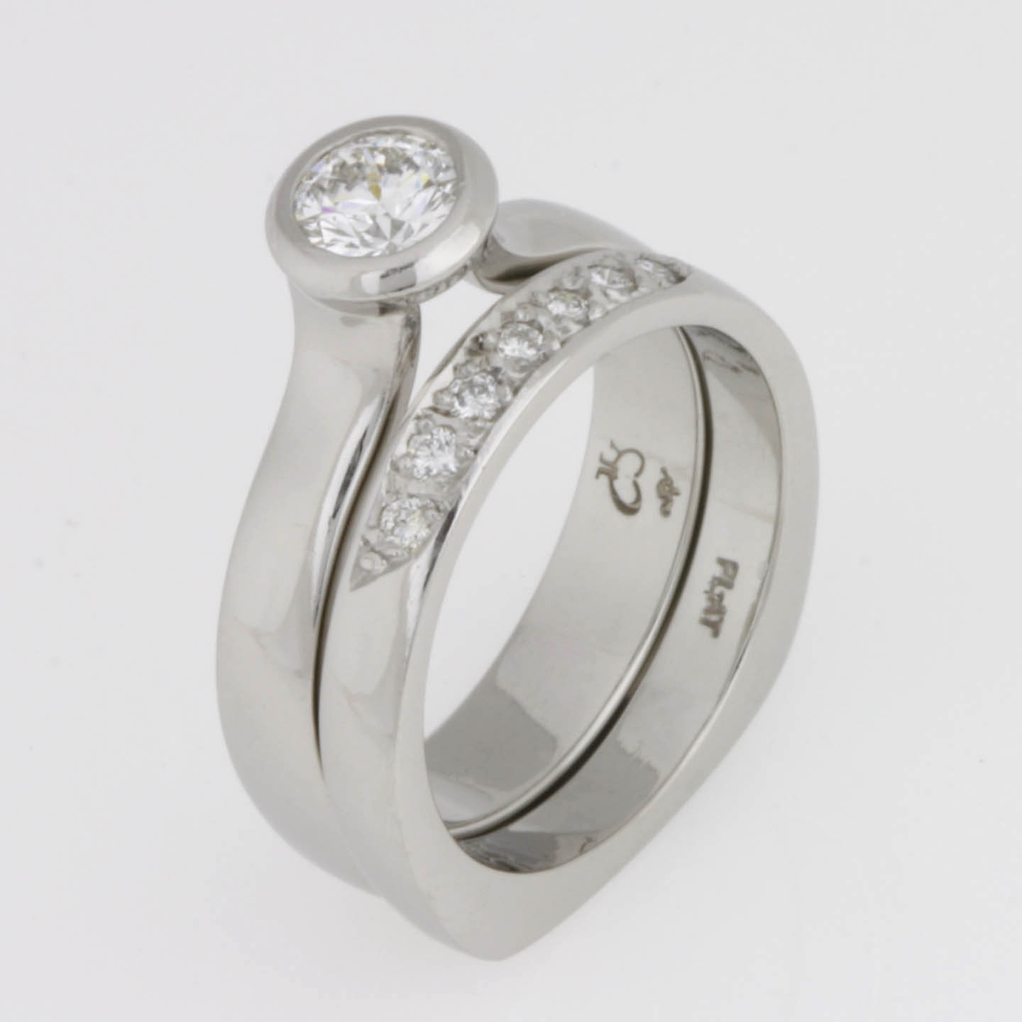 Handmade ladies platinum and diamond engagement & wedding ring set