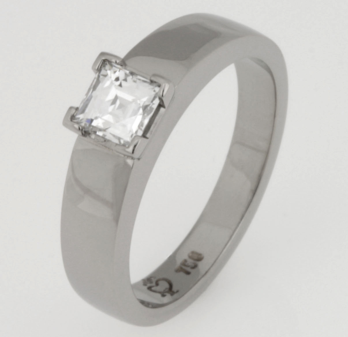 Handmade ladies 18ct white gold engagement ring featuring a 'Tycoon' cut diamond