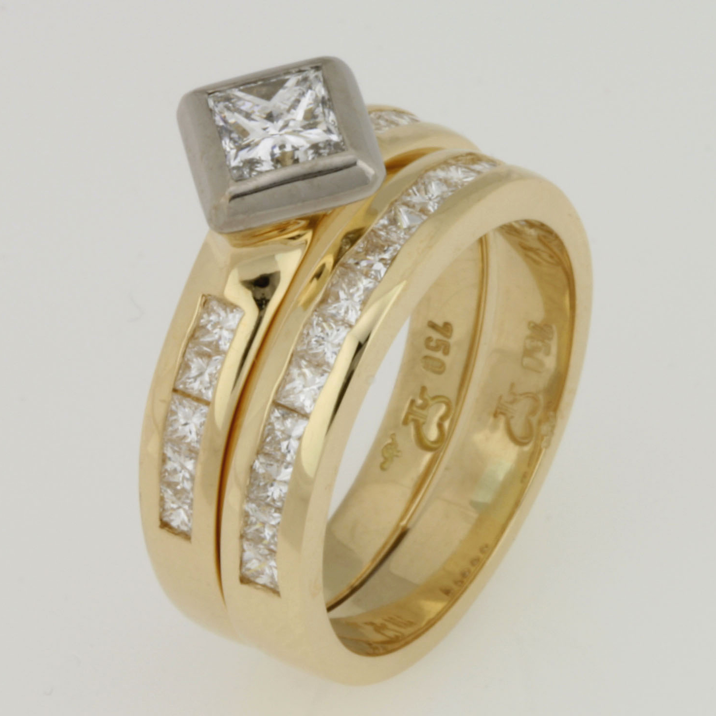 Handmade ladies 18ct yellow gold diamond wedding set