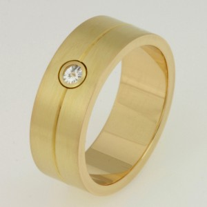 Handmade gents 18ct yellow gold diamond wedding ring